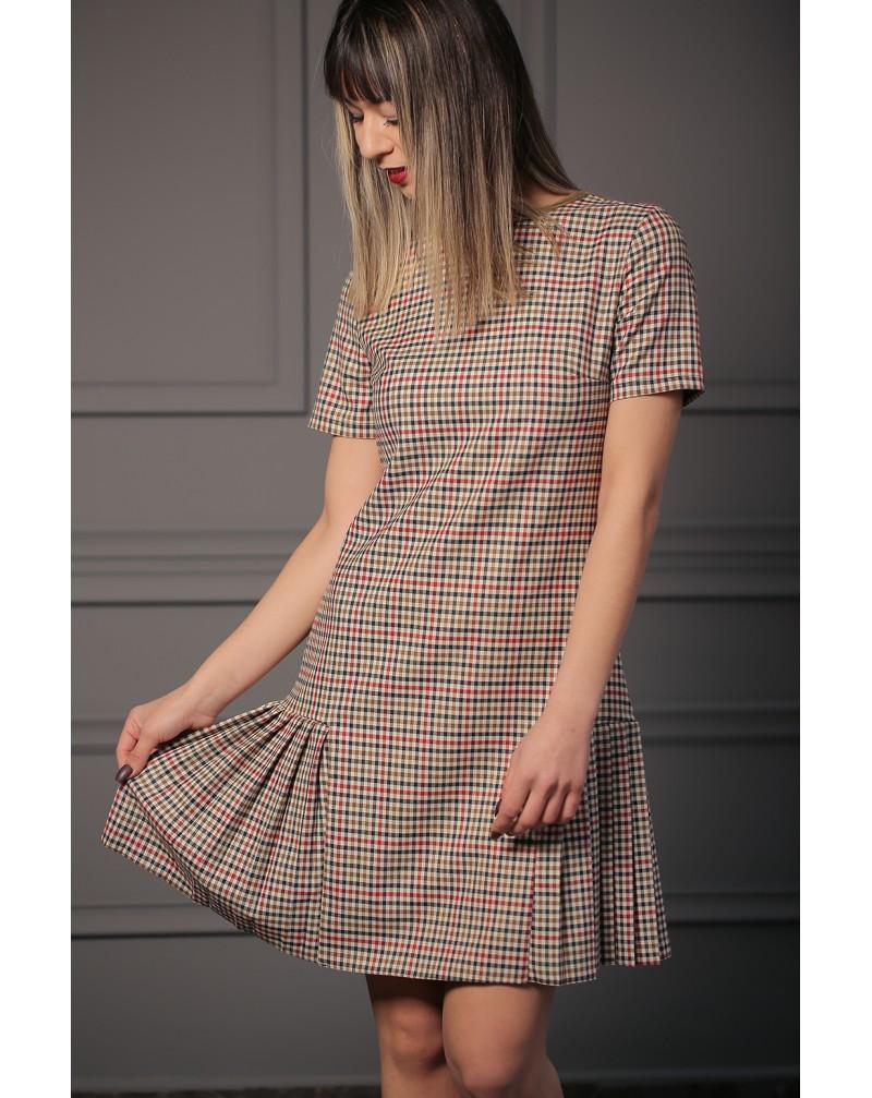 Pöti Kare Pileli Mini Elbise