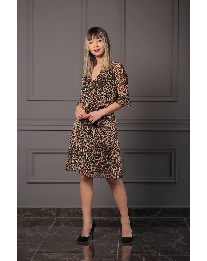 Şifon Leopar Desenli Elbise