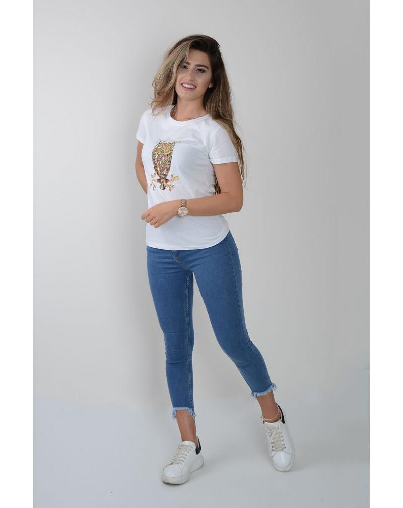Önü Baykuş Baskılı Çakma Taş Detaylı T-shirt