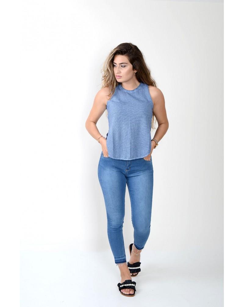 Fileli Sıfır Kol T-shirt