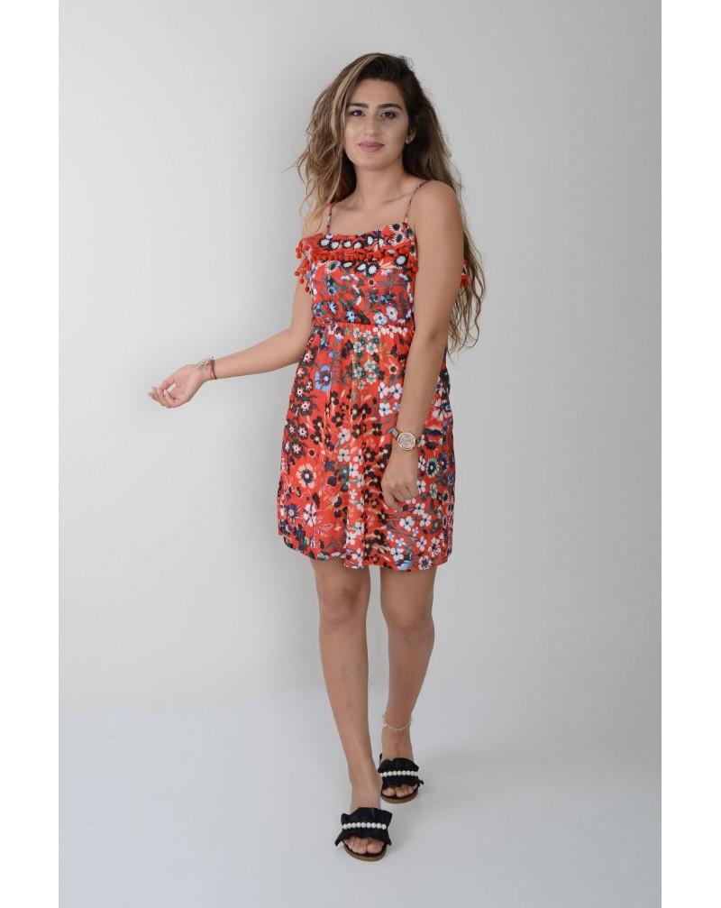 Desenli İp Askı Ponpon Detaylı Elbise