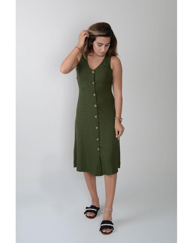 Kalın Askı Önden Düğmeli Elbise