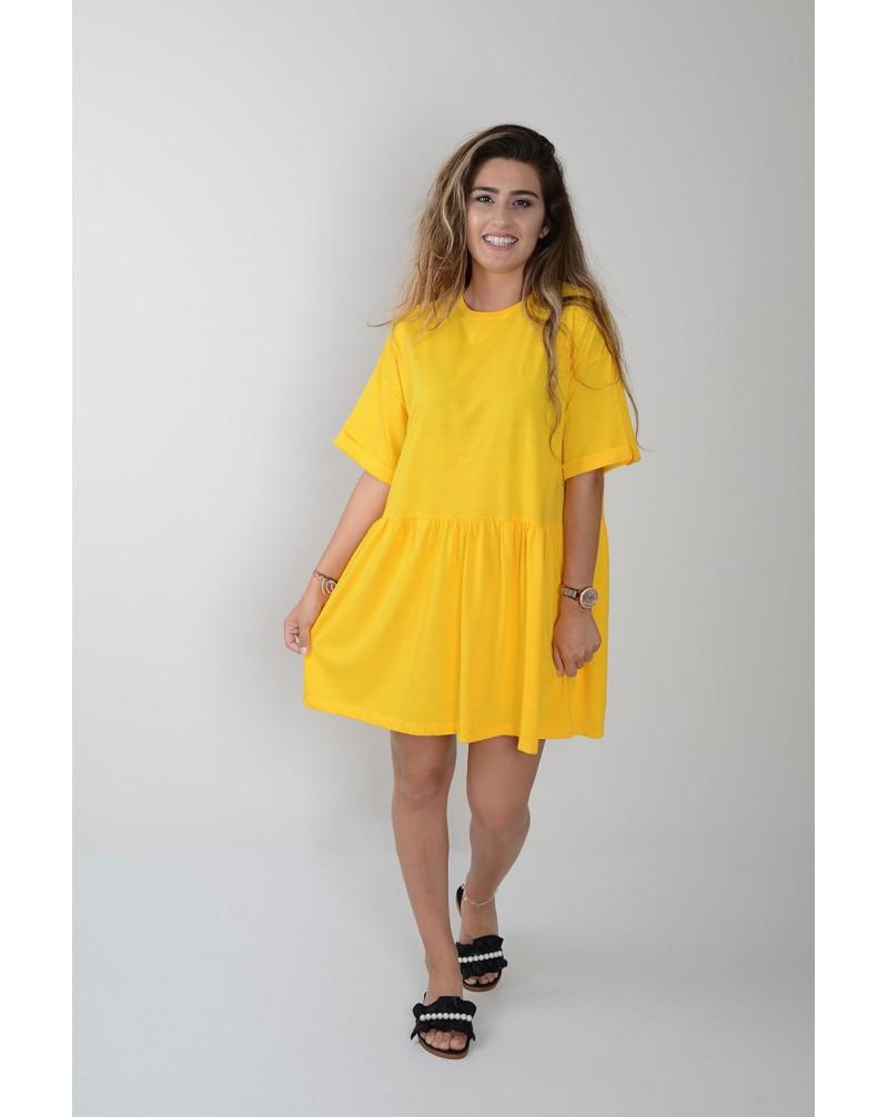 Double Kol Beli Büzgülü Elbise