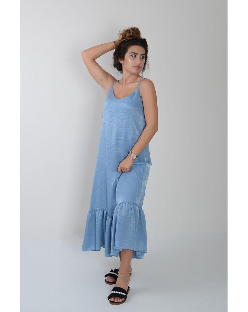 Askılı Alt Geniş Fırfırlı Elbise