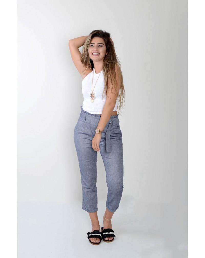 Tokalı Geniş Kemerli Lacivert Pantolon